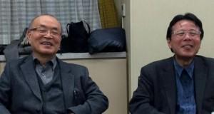 2-19定例会の一コマ-甲南大-加護野先生-左-と神戸大-金井先生-右